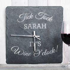Personalised Square Slate Clock Wine OClock