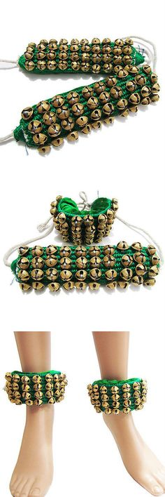 Other Asian E Indian Jewelry 11313: Green Velvet Anklet/Ankle Bracelet Ghungru Women Belly Dance Ethnic Jewelry BUY IT NOW ONLY: $30.99