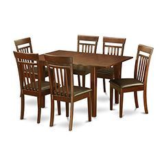 East West Furniture MLCA7-MAH-LC 7-Piece Kitchen Nook Dining Table Set