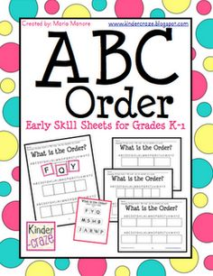 FREE hands-on activity pages for introducing ABC order in Grades K-1