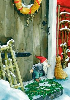 Wholesale Postcards of Inge Look, number 216 Swedish Christmas, Christmas Gnome, Scandinavian Christmas, Christmas Art, Illustration Noel, Christmas Illustration, Vintage Christmas Cards, Vintage Cards, Troll