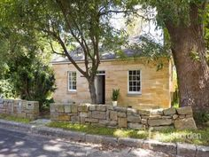 Gorgeous Sandstone house in Hunters Hill, NSW, Australia Stone Cottages, Stone Houses, Country Cottages, Farm Cottage, Modern Cottage, House Exterior Color Schemes, Stone Chimney, Australia House, Home Exterior Makeover