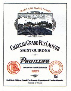 Chateau Grand Puy Lacoste 1983 French Wine Label