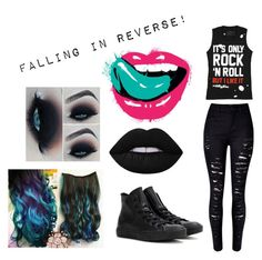 """""""Falling In Reverse!"""" by toribabe1990 ❤ liked on Polyvore featuring WithChic, Converse, Lime Crime and fir"""