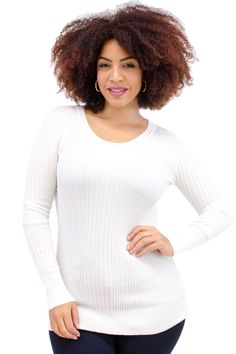 Plus Size Ribbed Knit Scoop Neck Long Sleeve Shirt