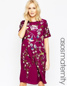 bc7d80f51105 Image 1 of ASOS Maternity Shift Dress With Bird And Floral Embroidery -   Bird