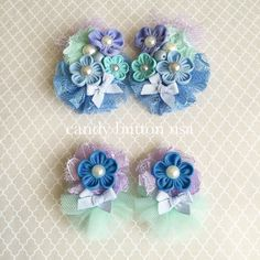 Lavender Mint Lace Clip Baby HairClip Girl by candybuttonusa