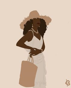 Black Girl Cartoon, Black Girl Art, Black Women Art, Art Girl, Black Girl Aesthetic, Brown Aesthetic, Aesthetic Art, Black Art Painting, Queen Art