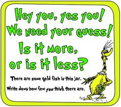 Dr. Suess baby shower ideas | Dr. Seuss Baby Shower or Party Ideas / The How Many? guessing game ...