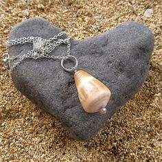 Hawaiian Cone Shell Necklace, Sterling Silver, Hawaii Beach Jewelry, Maui Shell Necklace, Gift for Her. $40.00, via Etsy.