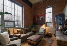 Amazing Interior Design » Exceptional Living Room Design Ideas With Brick Wall Accents