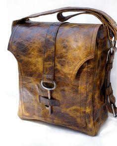 Brown Leather Messenger Bag with Antique Key - The Sojourner Rustic Unisex Book Bag Overnight Carry On - MADE TO ORDER