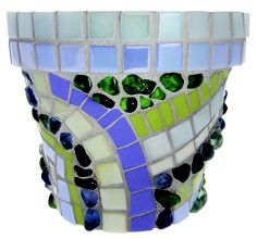 Fun mosaic flower pot made with our Eco-Simple and Lux tiles, with Jelly Beans.