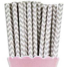 Gray Chevron Paper Straws