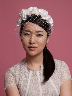 Amalia - birdcage veil with silk petals. Cappellino Bridal