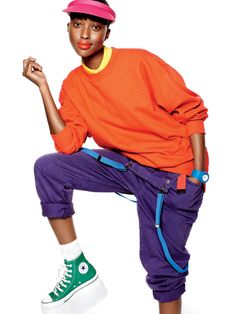 Fruit of the Loom orange sweatshirt, Lacoste shirt, See by Chloé overalls, Tropical Trends visor, Cloud 9 watch, American Eagle Outfitters suspenders, custom Converse sneakers