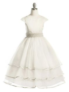 Ivory Gorgeous Satin and Tulle with Pearl Sash Girl Dress (Girls Sizes 2-20 in 2 Colors) long options