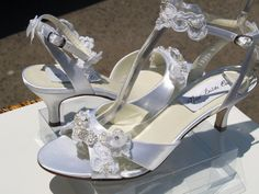 Wedding Shoes White/Silver with Venice lace pearls by NewBrideCo, $138.00