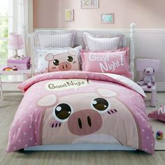 Update your space with Southwestern flair in the farm style pig print twin size bedding sets. Featuring the sophisticated guitar and colorful farm animal design, the reversible pig print twin size bedding sets impart a casual chic look to your bedroom. Girls Bedroom Sets, Small Room Bedroom, Kids Bedroom, Toddler Girl Bedroom Sets, Childrens Bedroom, Girl Bedrooms, Bedroom Wall, Bedroom Ideas, White Pig