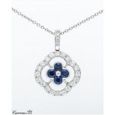 Peter Storm 18kt White Gold Sapphire And Diamond Clover Pendant