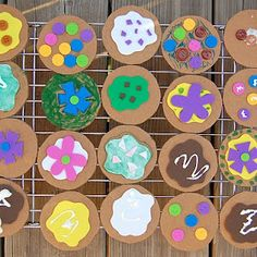 cardboard cookies decorated with paper scraps. Yum!
