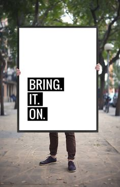 """Motivational Quote """"Bring it on"""" Printable Poster Inspirational Digital Print Positivity Quote Poster Wall Saying Instant Digital Download"""