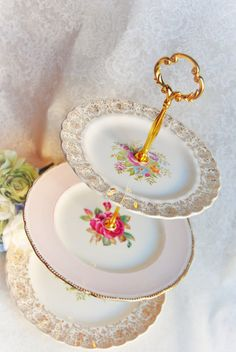 Pink Rose and Gold Filigree Dessert Stand/Plate by HoneyandBumble