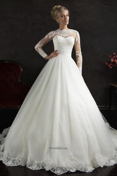 2016 New Amelia Sposa Plus Size Wedding Dresses Jewel Collar Long Sleeve Applique Lace Ball Bridal Gowns With Court Train Custom Made Princess Ball Gown Princess Ball Gown Wedding Dress From Liuliu8899, $195.82| Dhgate.Com