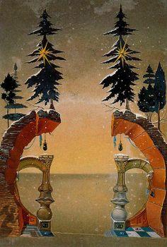Christmas Card (Felicitacion de Navidad) by Salvador Dali, 1948. Study for the cover of VOGUE magazine