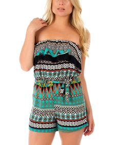 Love this Seafoam & Black Geometric Romper by California Trading Group on #zulily! #zulilyfinds