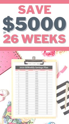 Want to save 5000 in year? Check out this biweekly savings plan to try a simple savings plan to start saving more money.  Savings Printable | Biweekly | Worksheet | How to Save Money | Managing Your Money  #save #money