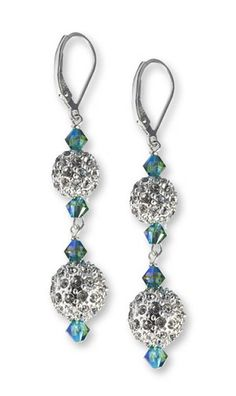 Dazzle Collection Dazzle Earrings in Fern Green AB 2X - made with Swarovski Crystals, .925 Sterling Silver Components, and Silver Pave Beads
