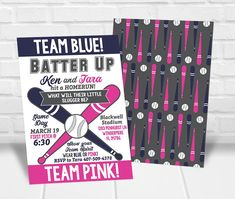Team Blue or Team Pink Gender Reveal Party Invitation Personalized Invitations, Printable Invitations, Baseball Gender Reveal, Quick Print, Gender Reveal Party Invitations, Reveal Parties, Pink, Blue
