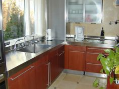 Image of: Kitchen with Stainless Steel Countertops