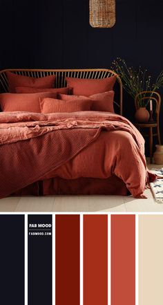 Back to earth bedroom in Blackberry and Dark Terracotta. Dark Terracotta is a shade between rust and burnt sienna, think brown, color of brick, color of tile, terracotta pots.