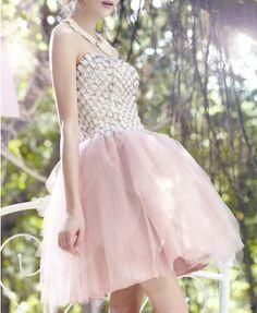 Strapless Mesh Splicing CZ Diamond Embellishment Dress - Dresses - Clothing