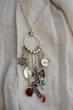 Birthday Charm Necklace, Vintage Assemblage Customized Charm Necklace OR Bracelet, Hand Stamped Word Charms, Bon Voyage Vacation Travel Best Jewellery Online, Jewellery Sale, Jewelry Stores, Vintage Jewelry, Handmade Jewelry, Vintage Necklaces, Vintage Accessories, Personalized Charms, Necklace Designs