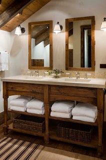 Lodge style #bathroom - www.remodelworks.com