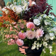 """This was a custom harvest in white, cream, peach snd brown. Our buckets of blooms include approximately 60 stems. We included a mix of foliages/greenery, accent flowers and """"feature"""" flowers, harvested from what is most beautiful and abundant in our flower field. These flowers come in buckets of water and typically fill 8-10 mason jars depending on how you design your arrangements. Bulk Wedding Flowers, Diy Wedding, Flower Farm, Buckets, Stems, Greenery, Harvest, Mason Jars, Fill"""