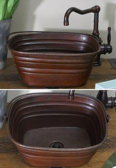 Bucket Vessel Sink : BKR16 - 16 inch Copper Rectangle Bucket Style Vessel Sink w/handle