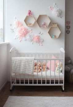 White and pink paper flowers for nursery wall decor Nursery Dining Room Wall Decor, Nursery Wall Decor, Baby Room Decor, Girl Nursery, Girl Room, Flower Wall Decor, Flower Decorations, White Angel Wings, Pink Paper