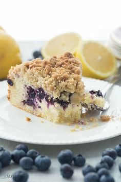 This Lemon Blueberry Cream Cheese Coffee Cake is a soft, moist lemon coffee cake filled with cream cheese & topped with an insane amount of crumb topping!
