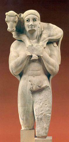 ***Moscóforo, h.570 a.C. Atenas, Museo Arqueológico. Exvoto arcaico que representa a un joven llevando al sacrificio un ternero sobre los hombros. Antecesor de la imágen del Buen Pastor que trae sobre sus hombros la oveja perdida.