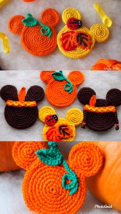 Set of 4 Autumn Mouse Ornaments These are crochet patterns and not the finished items Crochet Crafts, Yarn Crafts, Crochet Toys, Crochet Projects, Knit Crochet, Autumn Crochet, Crochet Geek, Diy Crafts, Crochet Pour Halloween