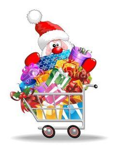 Vector: Carrello Spesa con Babbo Natale-Santa Claus on Shopping Cart