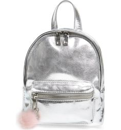 A cute little faux fur bag charm adds trend-right whimsy to this small-scale backpack done in lustrous black faux leather. Mini Backpack, Backpack Bags, Fashion Backpack, Metallic Backpacks, Faux Leather Backpack, Leather Bags, Fur Bag, Cute Backpacks, Cute Bags