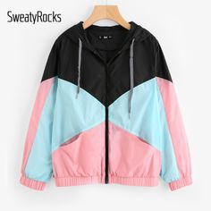 Cheap jacket colorful, Buy Quality coat for women directly from China coats and jackets Suppliers: SweatyRocks Woman Winter Coats and Jackets Multicolor Cut and Sew Hooded Windbreaker Jacket Color Block Coats for Women Winter Coats Women, Coats For Women, Jackets For Women, Winter Jackets, Plaid Jacket, Hooded Jacket, Hooded Coats, Women's Coats, Cool Outfits