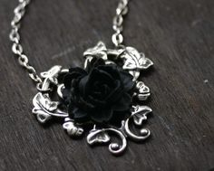 Black Rose Necklace  Gothic Steampunk