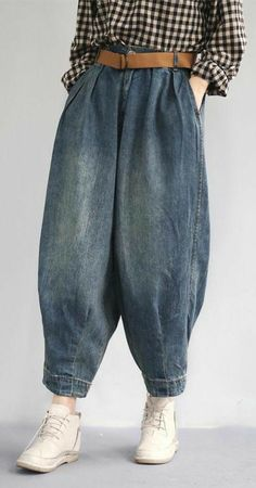 Classy cotton troues Fashion Women Spring Vintage Solid Loose Turnip Pants Jeans Classy c Urban Fashion, Boho Fashion, Fashion Outfits, Womens Fashion, Fashion Trends, Jeans Fashion, Fashion Spring, Fashion Clothes, Fashion Jewelry