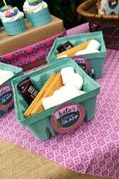 "S'mores Kit for each camper at this great ""Camp Glam"" party - sweet idea!"